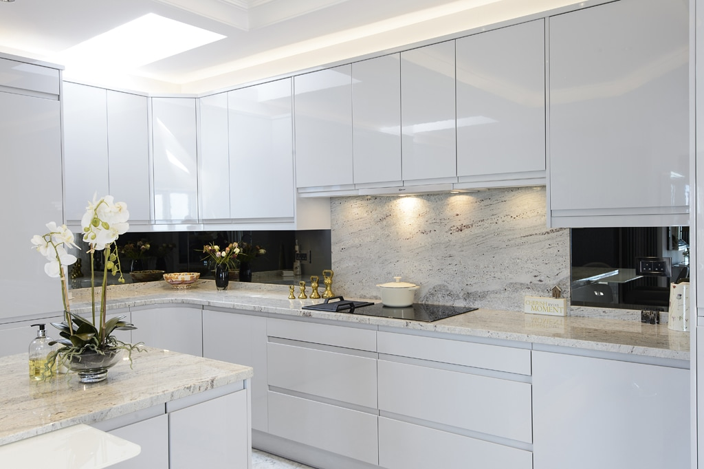Grey Gloss Kitchen Tiles